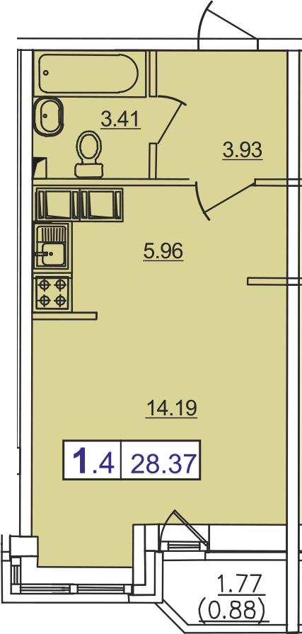 Студия, 30.42 м²