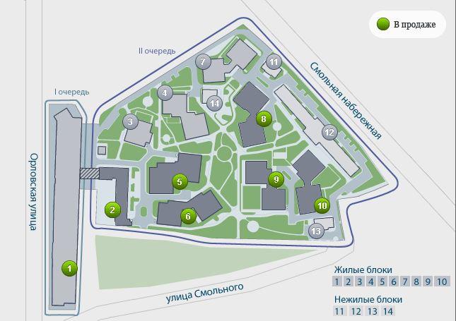 План жилого комплекса ЖК Смольный парк