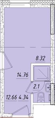 Студия 15 м<sup>2</sup> на 3 этаже