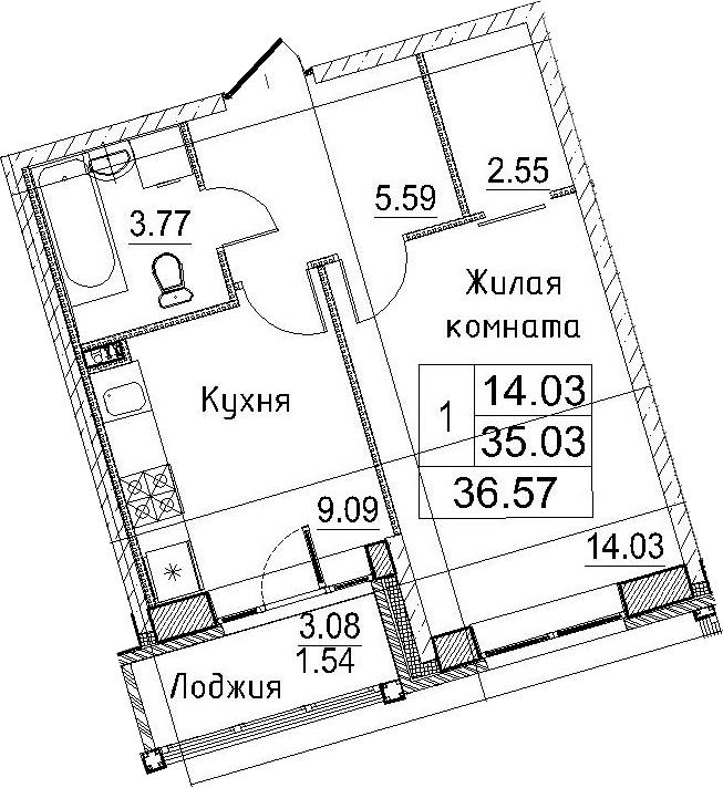 1-к.кв, 38.11 м²