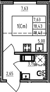 Студия 18 м<sup>2</sup> на 3 этаже