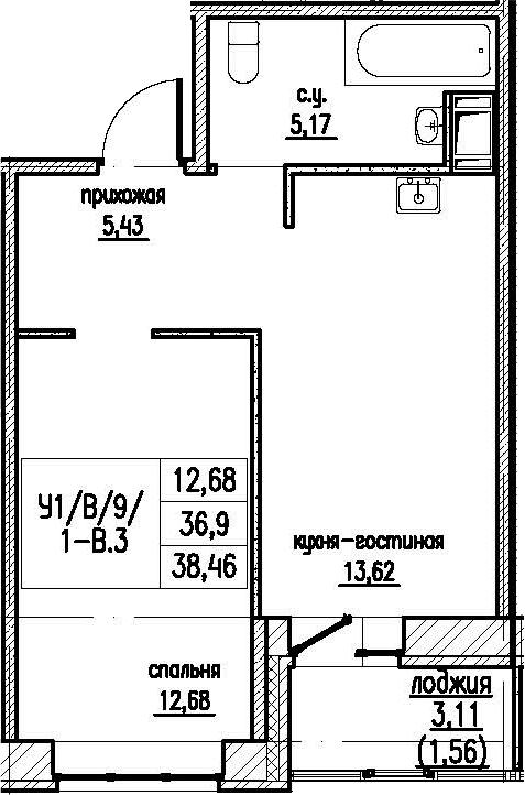 2-комнатная 40 м<sup>2</sup> на 9 этаже