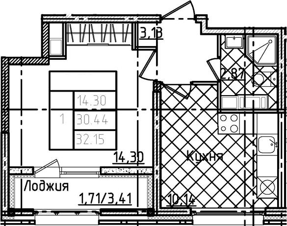 1-комнатная 33 м<sup>2</sup> на 22 этаже