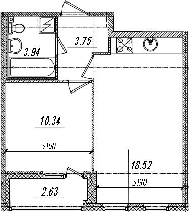 2-комнатная 39 м<sup>2</sup> на 12 этаже