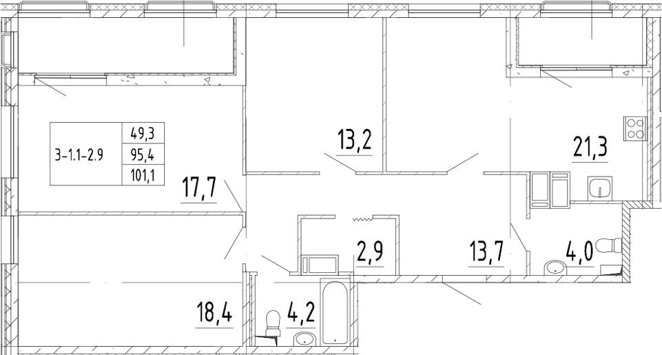 4-комнатная 106 м<sup>2</sup> на 3 этаже