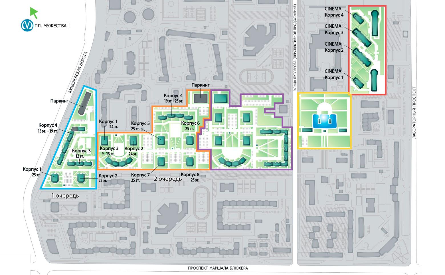 План жилого комплекса ЖК Калина-Парк 2
