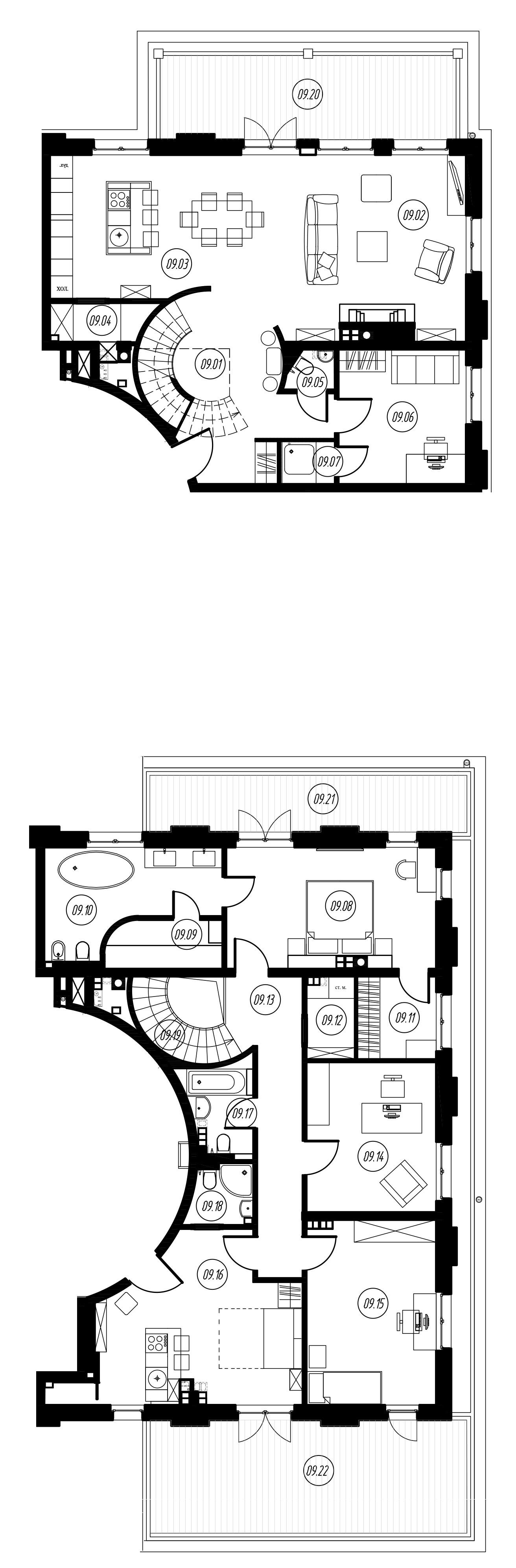 4-комнатная 194 м<sup>2</sup> на 3 этаже