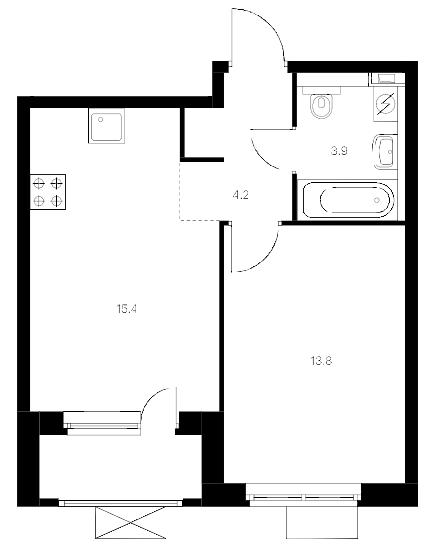 2-комнатная 40 м<sup>2</sup> на 16 этаже
