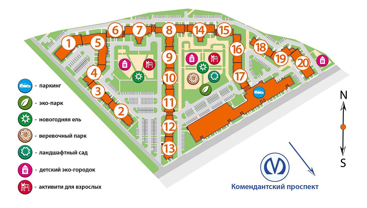 План жилого комплекса ЖК Полис на Комендантском