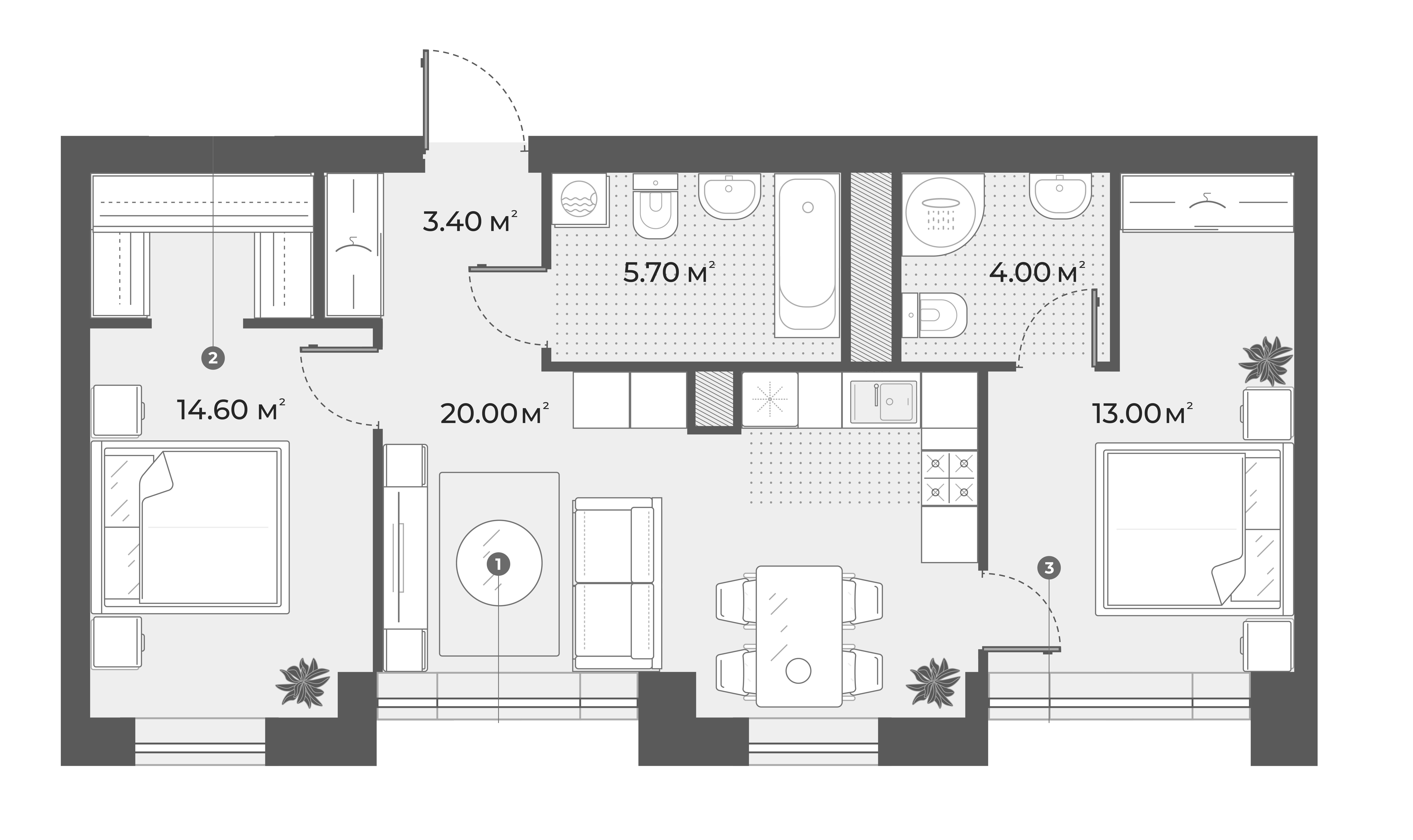 3-комнатная 60 м<sup>2</sup> на 3 этаже