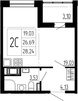 Студия, 29.79 м²