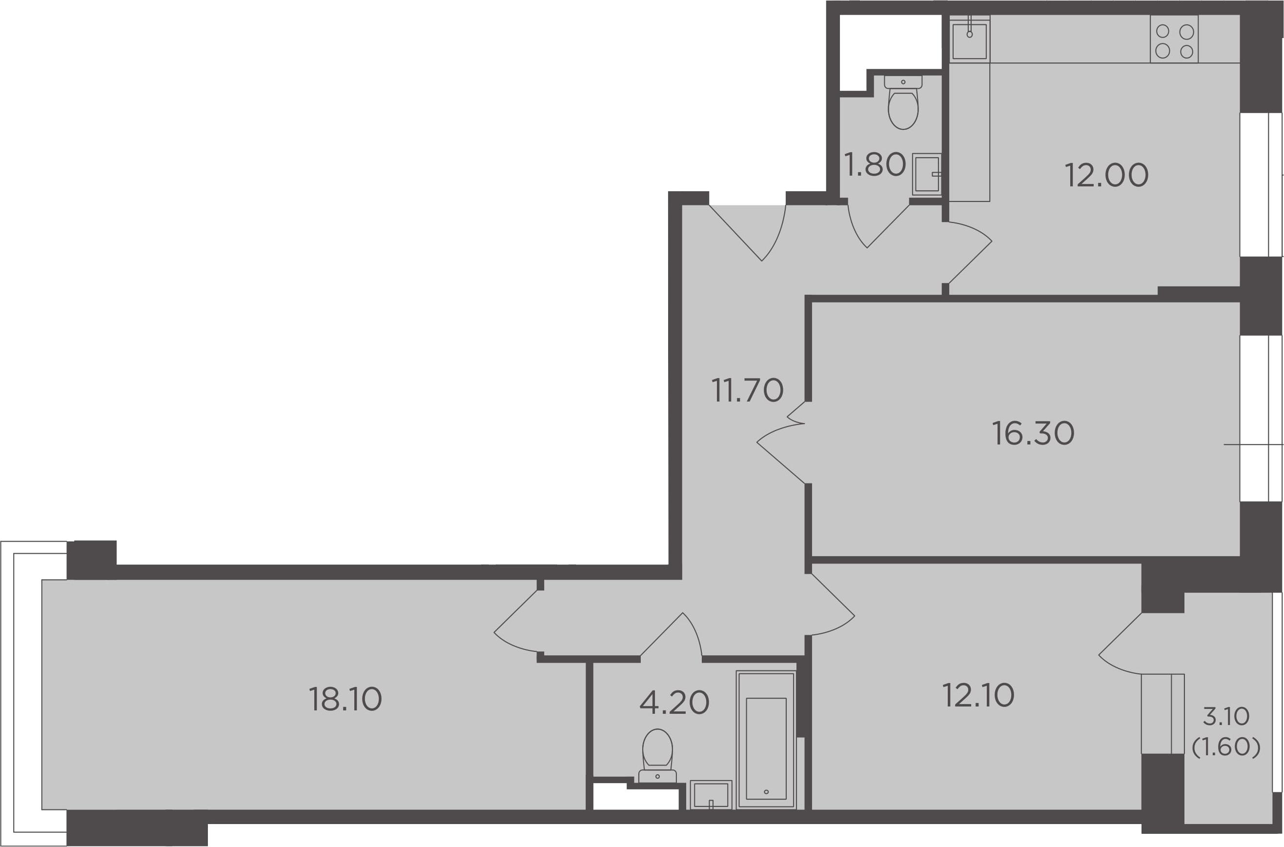 3-к.кв, 79.4 м²
