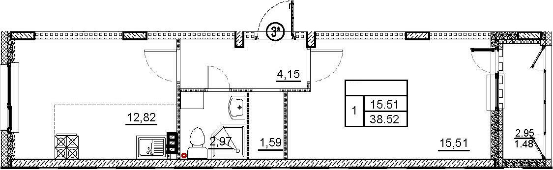 1-комнатная 40 м<sup>2</sup> на 2 этаже