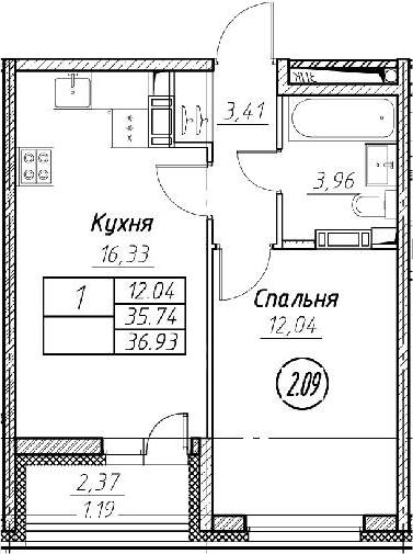 2-комнатная 38 м<sup>2</sup> на 11 этаже