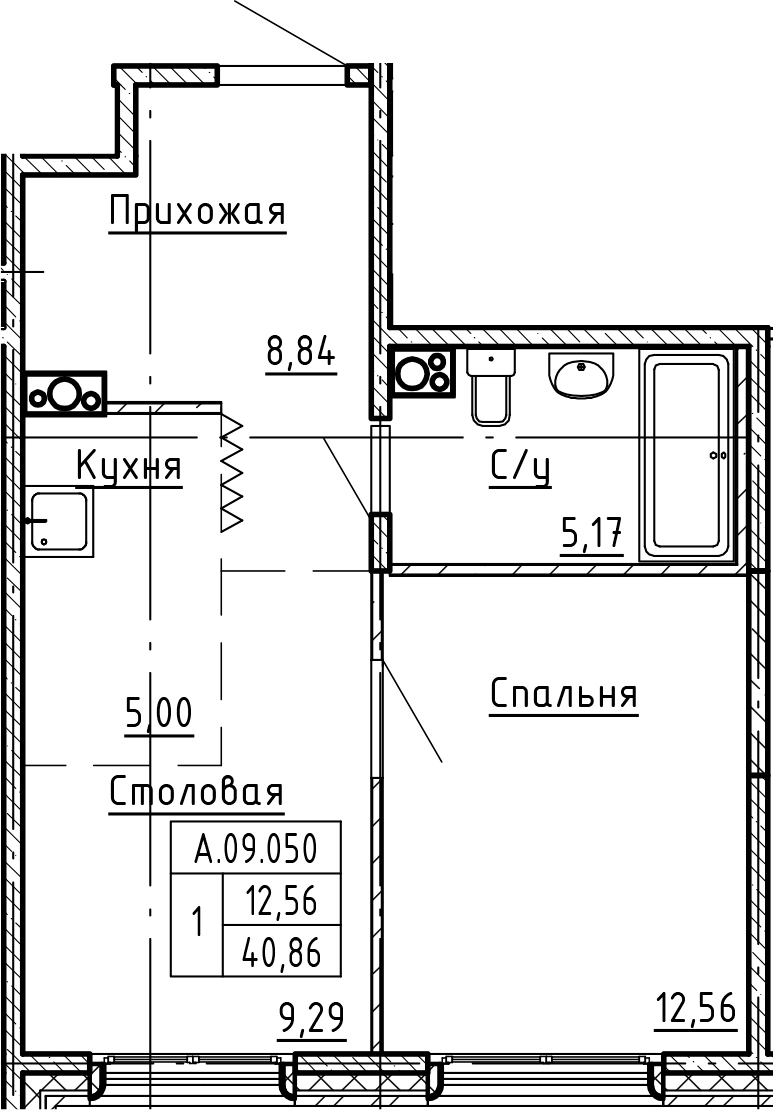 1-комнатная 40 м<sup>2</sup> на 9 этаже