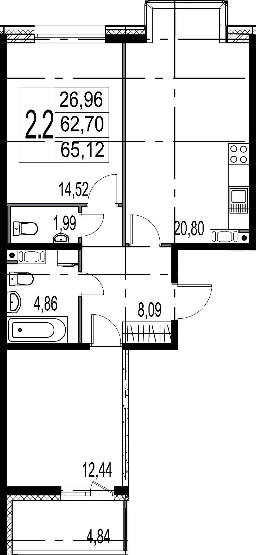 3-комнатная 67 м<sup>2</sup> на 5 этаже