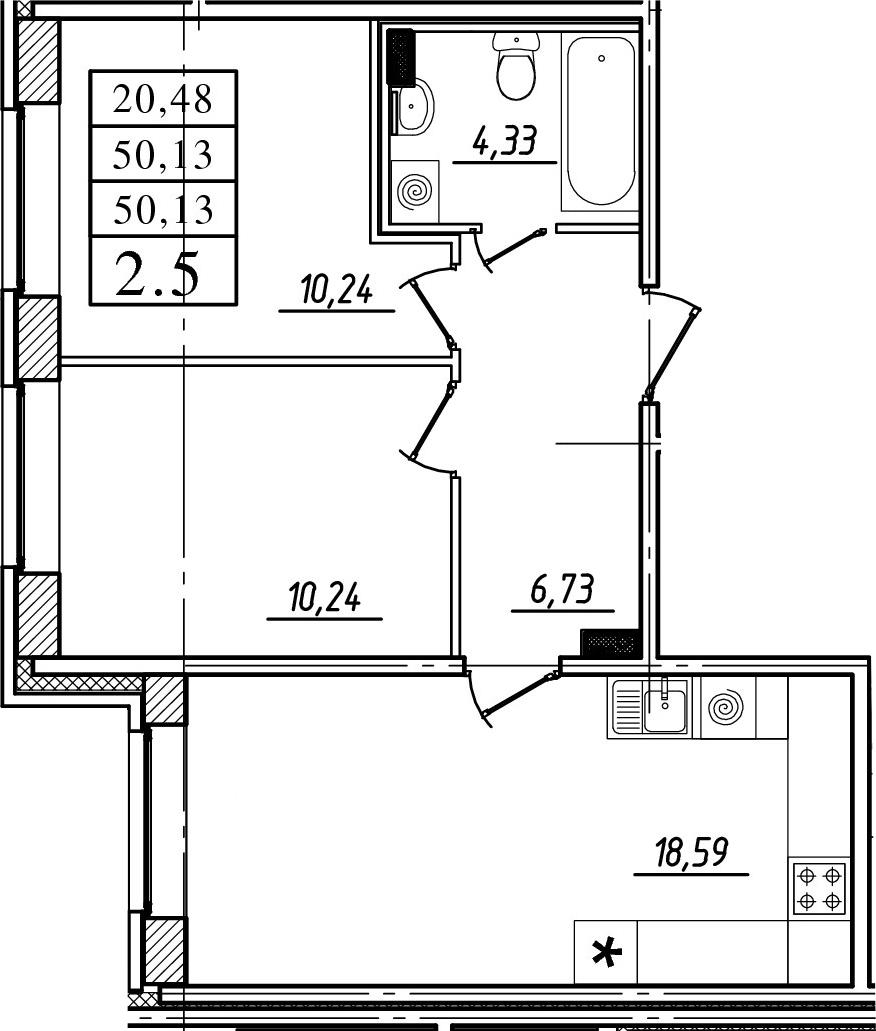 3-к.кв (евро), 50.13 м²