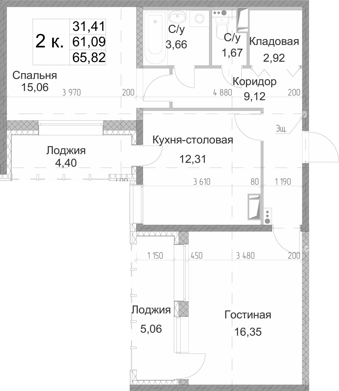 2-к.кв, 70.55 м²