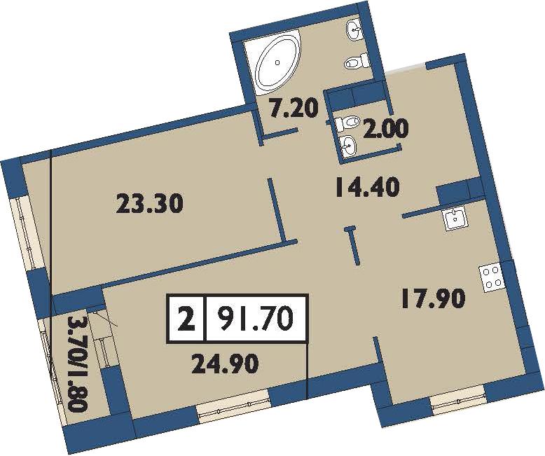 3-комнатная 93 м<sup>2</sup> на 10 этаже