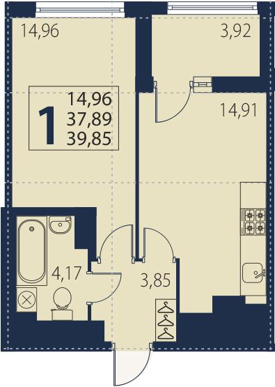 2-комнатная 41 м<sup>2</sup> на 13 этаже