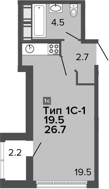 Студия 28 м<sup>2</sup> на 21 этаже