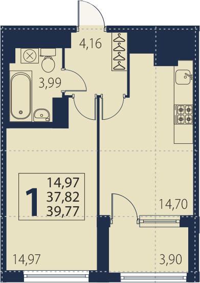 2-комнатная 41 м<sup>2</sup> на 4 этаже
