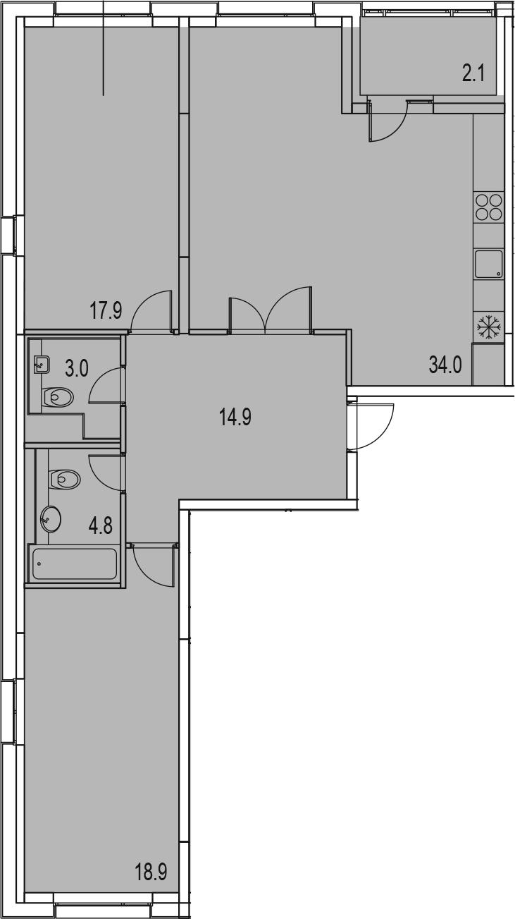 3-комнатная 97 м<sup>2</sup> на 4 этаже