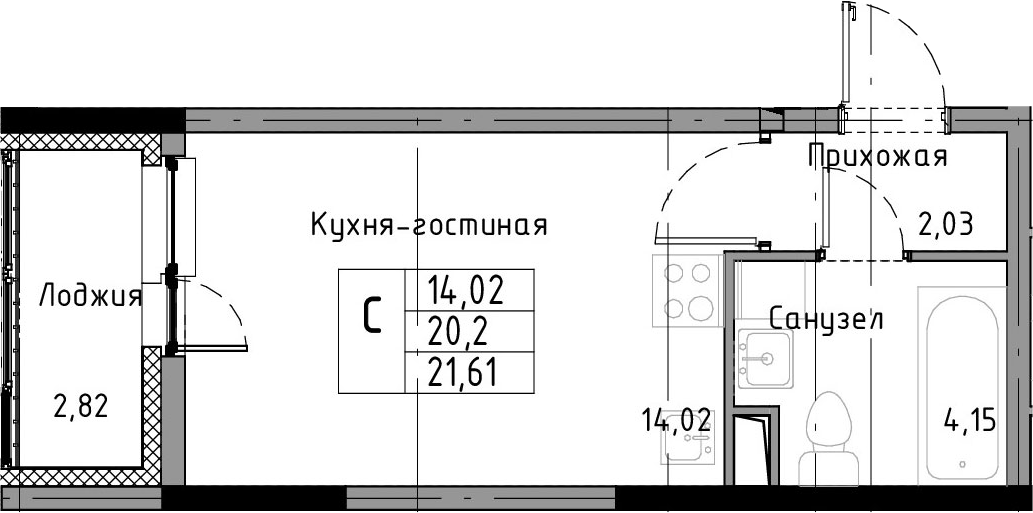 Студия, 23.02 м²