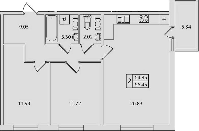 3-к.кв (евро), 70.18 м²