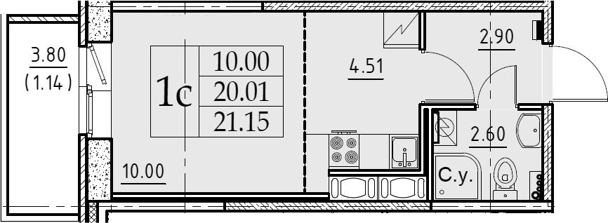 Студия 23 м<sup>2</sup> на 7 этаже