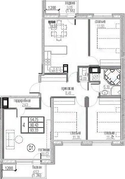 4-комнатная 97 м<sup>2</sup> на 12 этаже