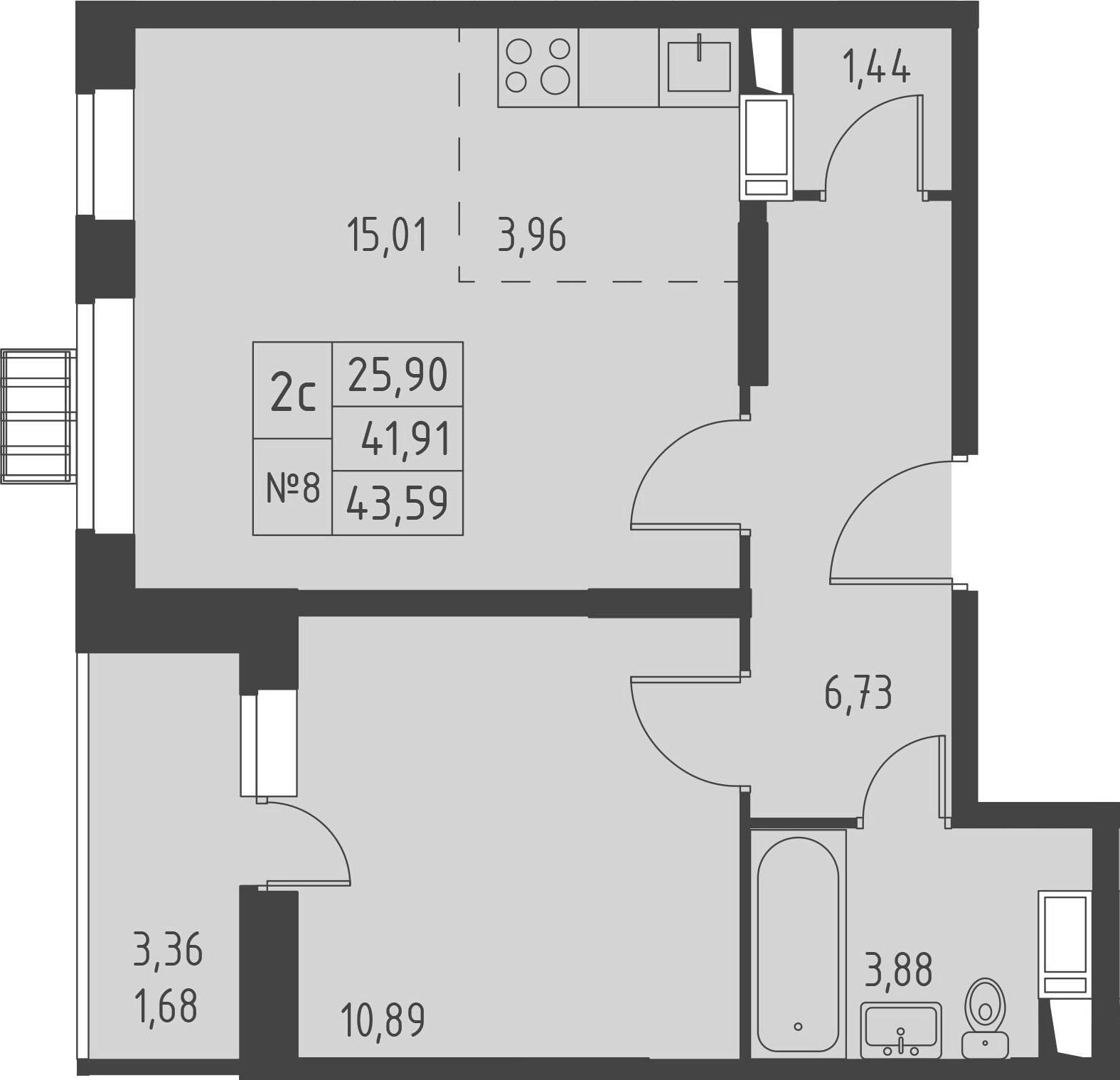 2-к.кв (евро), 45.27 м²