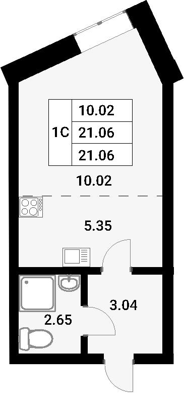Студия, 21.06 м²