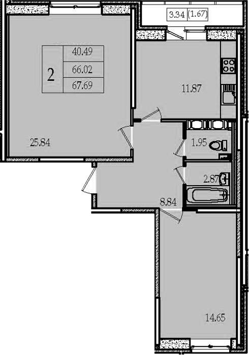 2-комнатная 69 м<sup>2</sup> на 13 этаже