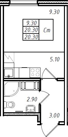 Студия 20 м<sup>2</sup> на 6 этаже