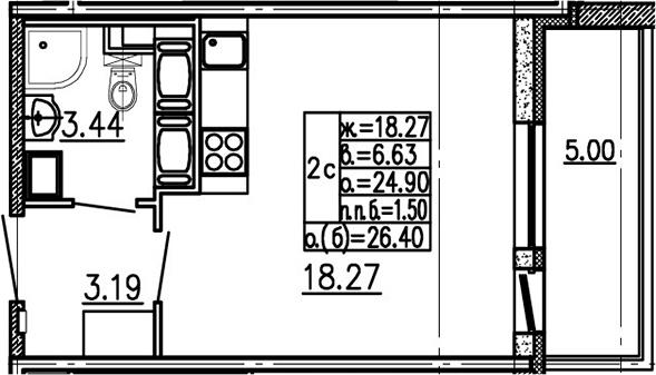 Студия 29 м<sup>2</sup> на 24 этаже