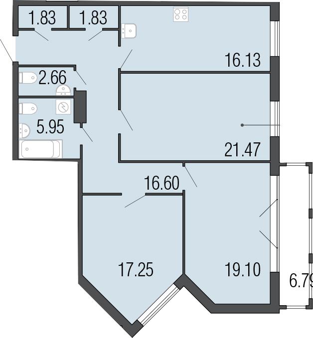 3-к.кв, 109.62 м²