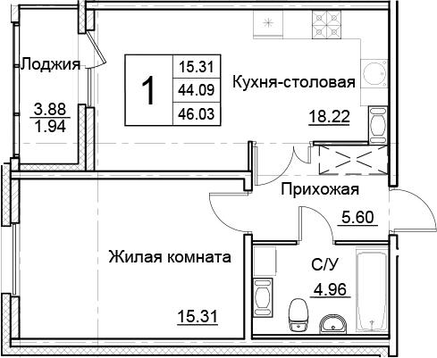 2-комнатная 47 м<sup>2</sup> на 14 этаже