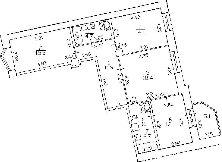 4-комнатная 88 м<sup>2</sup> на 7 этаже