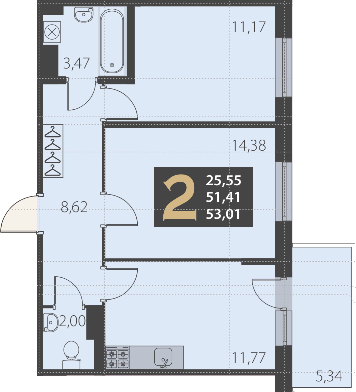 2-комнатная 56 м<sup>2</sup> на 2 этаже