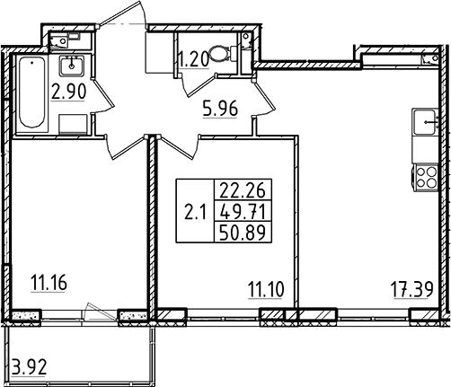 3-комнатная 53 м<sup>2</sup> на 2 этаже