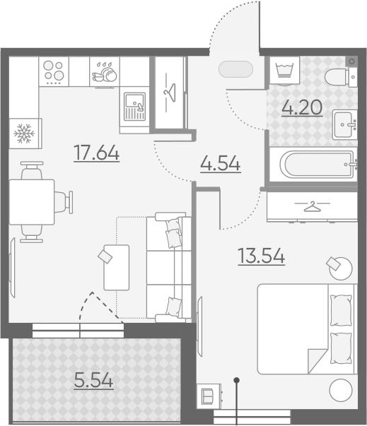 2-комнатная 45 м<sup>2</sup> на 9 этаже