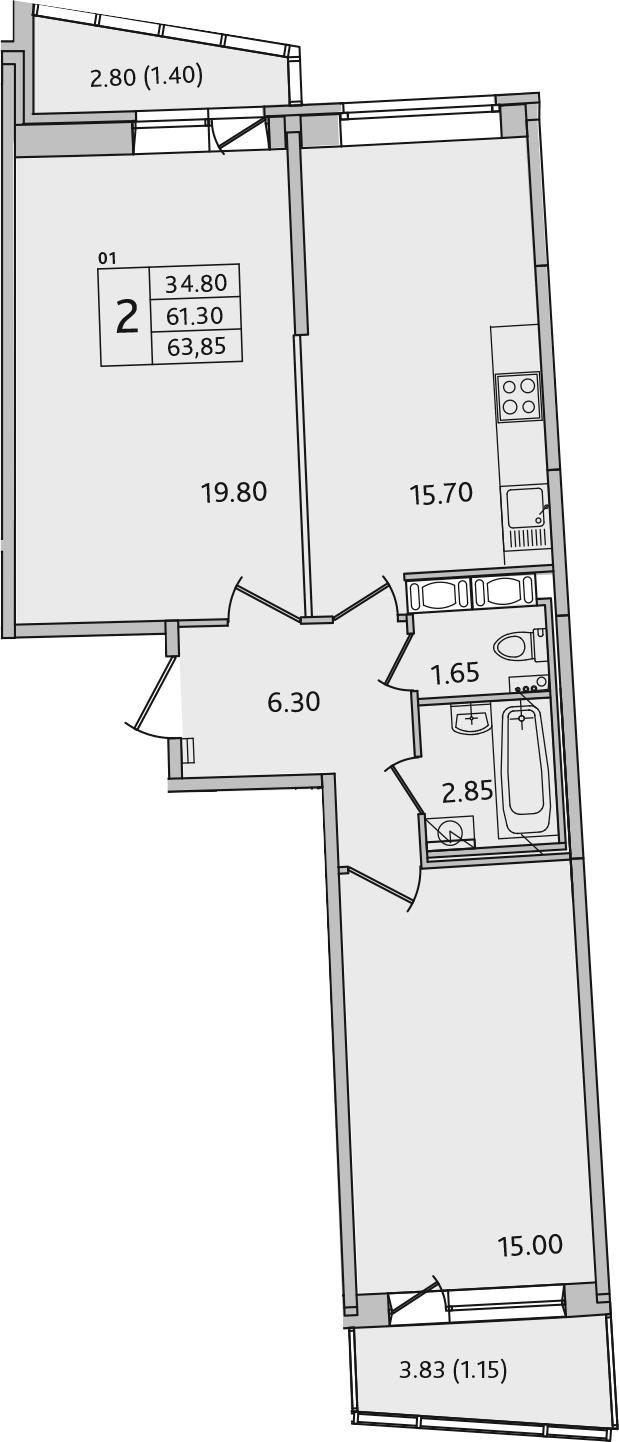 3-комнатная 67 м<sup>2</sup> на 3 этаже