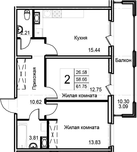 3-комнатная 68 м<sup>2</sup> на 11 этаже