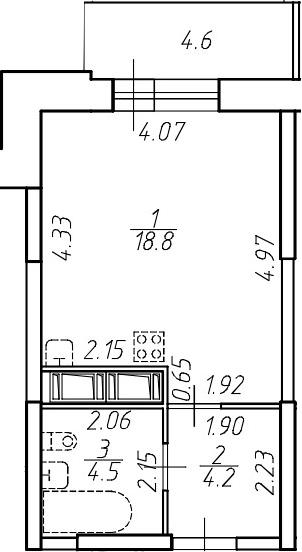 Студия 32 м<sup>2</sup> на 7 этаже