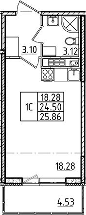 Студия 29 м<sup>2</sup> на 4 этаже