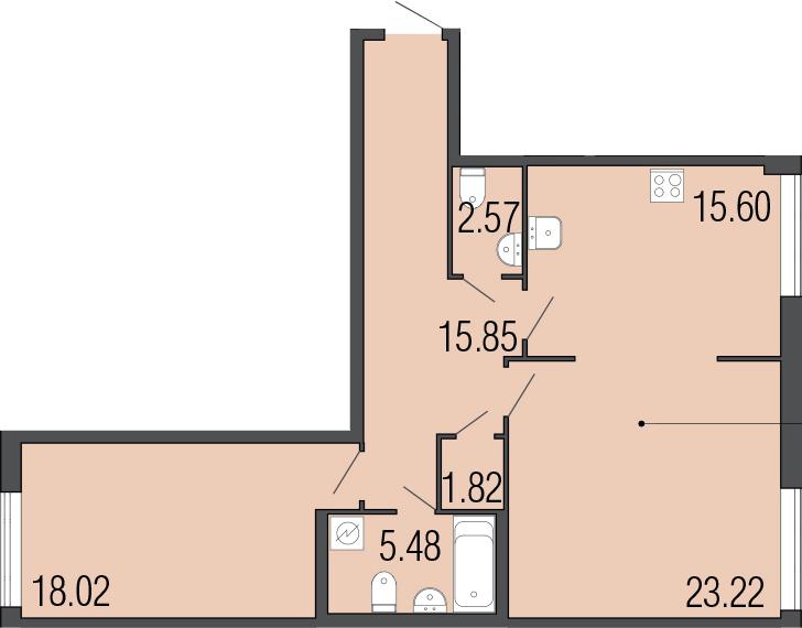 2-к.кв, 82.56 м²