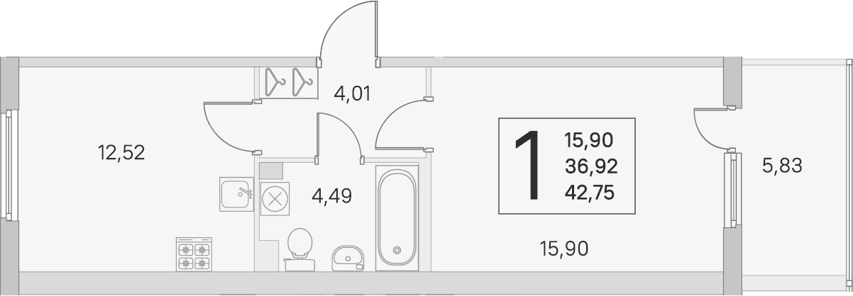 1-комнатная 42 м<sup>2</sup> на 2 этаже