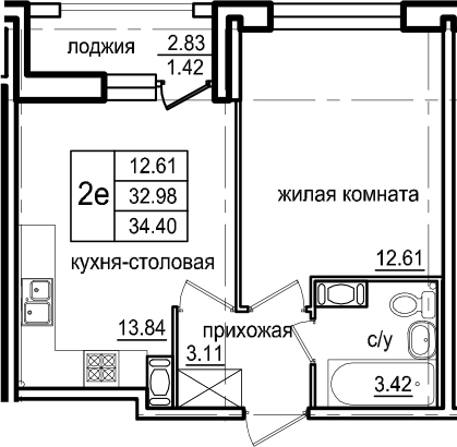 2-комнатная 35 м<sup>2</sup> на 9 этаже