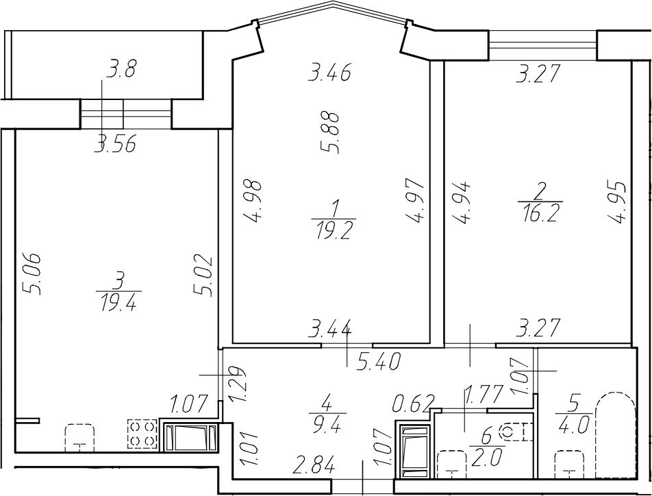 3-комнатная 74 м<sup>2</sup> на 16 этаже